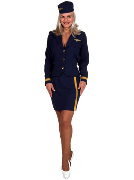 Adult Deluxe Air Hostess Costume Navy Blue