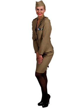Adult Andrews Sisters American Army Costume - Side View