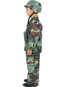 Child Army Boy Costume - Back View