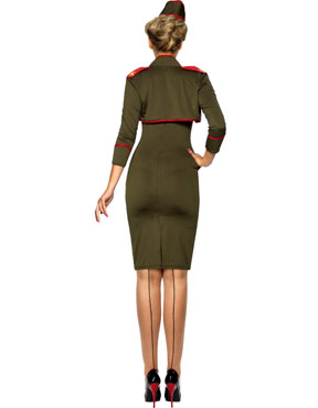 Adult Army Girl Costume - Back View