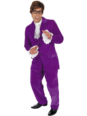 Adult Austin Powers Purple Costume - Back View