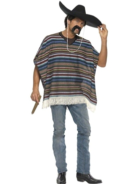 Adult Authentic Striped Poncho