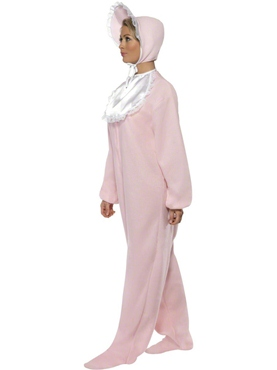 Adult Baby Onesie Costume Pink - Side View