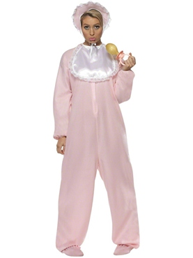 Adult Baby Onesie Costume Pink Thumbnail