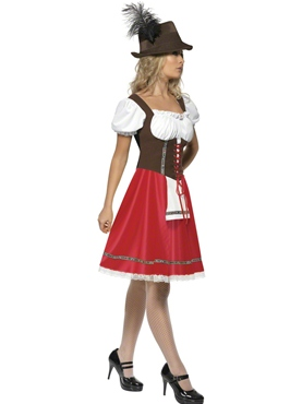 Adult Bavarian Beer Wench Oktoberfest Costume - Back View