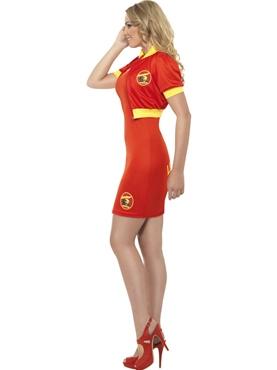 Adult Ladies Baywatch Beach Lifeguard Costume - Back View