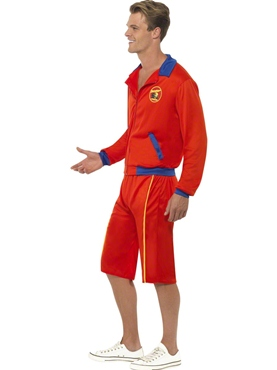 Adult Baywatch Beach Mens Lifeguard Costume - Back View