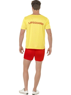 Adult Baywatch Mens Beach Costume - Side View