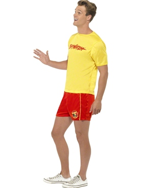 Adult Baywatch Mens Beach Costume - Back View