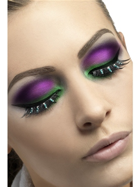 Black and Green Diamante Eyelashes