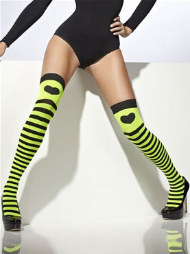 Black and Green Striped Stockings