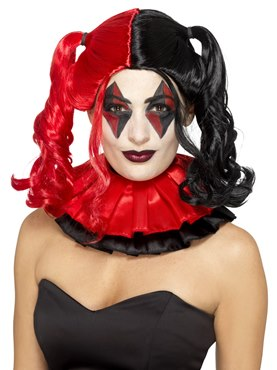 Black and Red Twisted Harlequin Wig