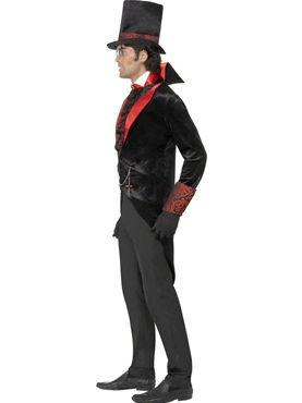 Adult Black Dracula Costume - Back View