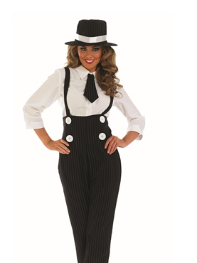 Adult Black Gangster Lady Costume - Back View