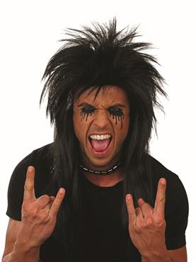 Adult Black Glam Rock Wig