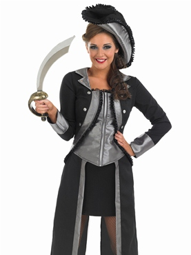 Adult Black Pirate Girl Costume - Side View