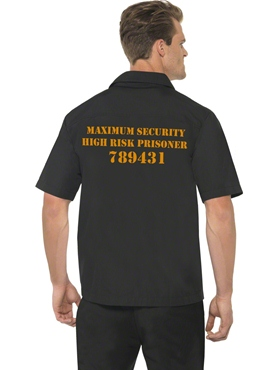 Adult Mens Black Prison Shirt - Back View