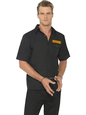 Adult Mens Black Prison Shirt