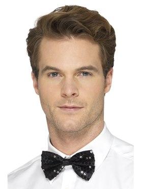 Black Sequin Bow Tie