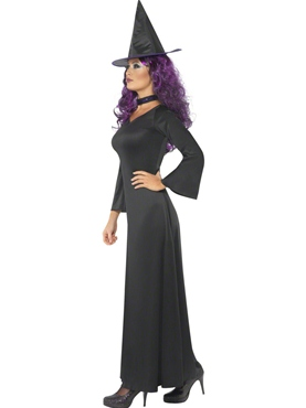 Adult Black Witch Costume - Side View