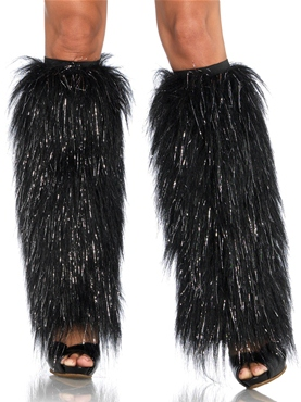 Black & Silver Deluxe Furry Lurex Leg Warmers