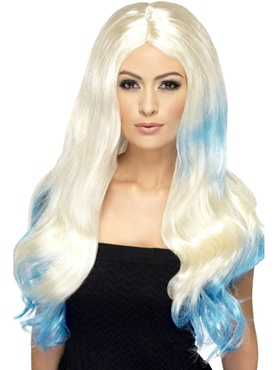 Blonde and Blue Dip Dye Wig
