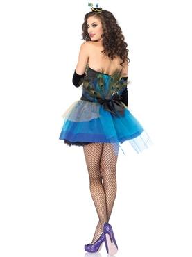 Blue Beauty Peacock Costume - Back View