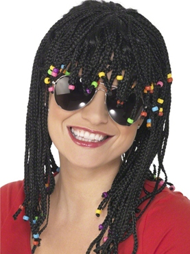 Braided And Beaded Wig Black - Back View