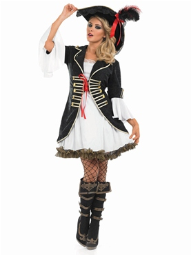 Adult Buccaneer Pirate Girl Costume - Back View