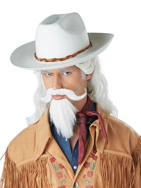 Buffalo Bill Wig, Moustache and Beard Set - Back View