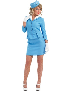 Adult Blue Cabin Crew Costume - Back View