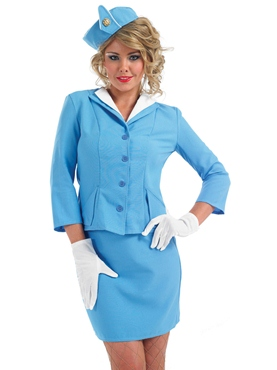 Adult Blue Cabin Crew Costume