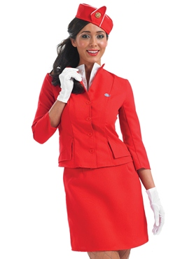 Adult Red Cabin Crew Costume - Back View