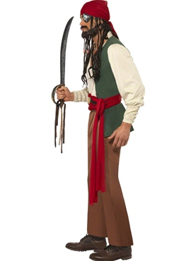 Adult Carribean Drunken Pirate Costume - Back View