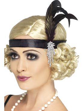 Charleston Headband Black Satin