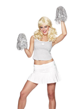 Cheerleader Pom Poms Metallic Silver