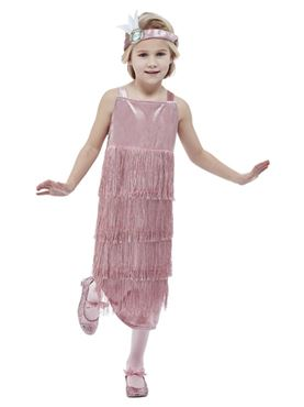 Child 20s Pink Flapper Costume - Back View