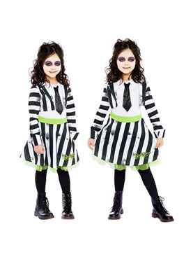Child Girls Beetlejuice Costume - Side View