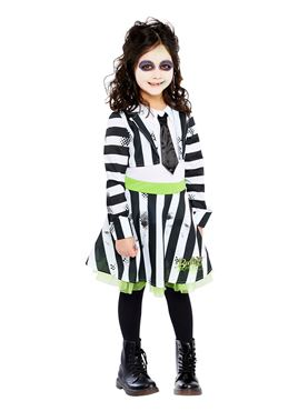 Child Girls Beetlejuice Costume - Back View