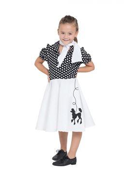 Child Black & White Poodle Dress Costume