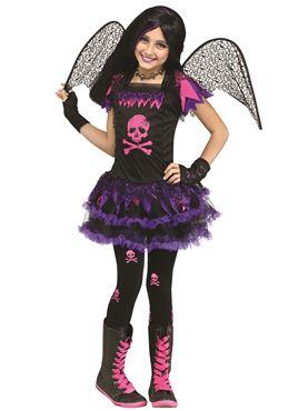 Child Pink Skull Fairy Costume