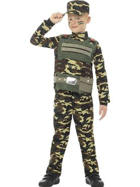 Child Camouflage Military Boy Costume - Back View