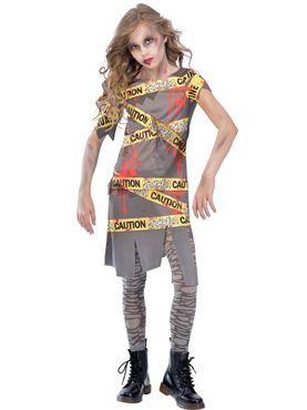 Girls Caution Zombie Costume