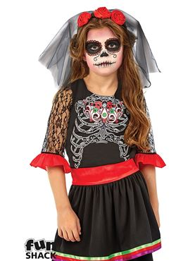 Child Day of the Dead Girl Costume - Back View