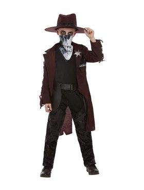 Child Deluxe Dark Spirit Western Cowboy Costume - Back View