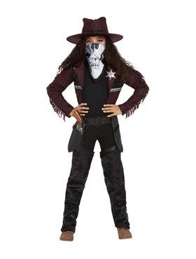 Child Deluxe Dark Spirit Western Cowgirl Costume - Back View