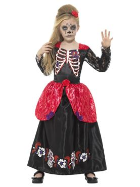 Child Deluxe Day of the Dead Girl Costume - Back View