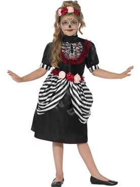 Child Sugar Skull Costume - Back View