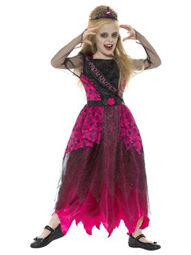 Child Deluxe Gothic Prom Queen Costume - Side View