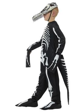Child Deluxe T-Rex Skeleton Costume - Back View
